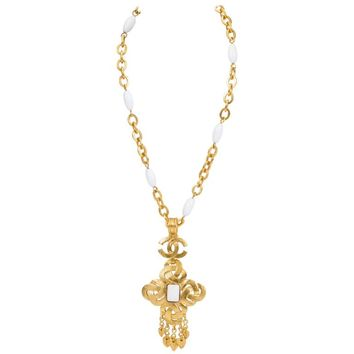 Chanel White Gripoix Maltese Pendant Necklace