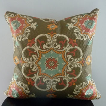 Medallion Pillow Cover/Quilted /Blue/Orange/Brown Elegant Throw Pillow 20X20 Bohemian chic flair
