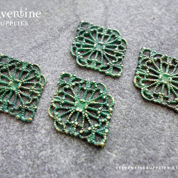 6pcs ∙ MOSS | Patina Ornate European Filigree Diamond Vintage Green Faux Verdigris Victorian Floral Lace Wrap Jewelry Supplies