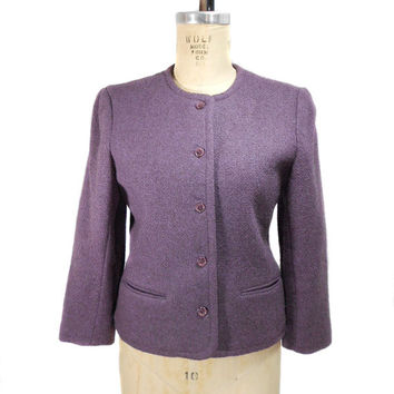 1960s Prestige of Boston Tweed Jacket - Lavender Purple - Wool Blend - Mad Men - Office Fashion - Boxy Jacket - Size 10