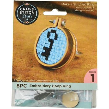 Mini Embroidery Hoop W/ Ring Punched For Cross Stitch-