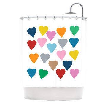"Project M ""Colorful Hearts"" Shower Curtain"