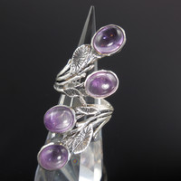 Amethyst Cabochon 4-Stone Sterling Silver Ring - Size 5.75