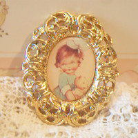 MABEL LUCIE ATTWELL Brooch Pin little girl holding teddy 1994
