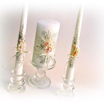 Wedding Unity Candles. Personalized Unity Candle Set. Gatsby Style. Ivory Wedding Candles. Luxury Traditional. My Wedding. Roses and Pearls.
