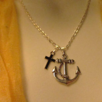 Anchor Cross Necklace, Silver Jewelry