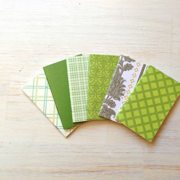 Notebooks: 6 Tiny Journals Set, Green, Geometric, Party Favors, Wedding, For Her, Journals, Jotters, Mini Journals, Small - Set of 6