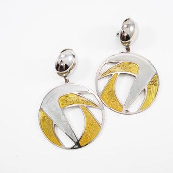 Signed Berebi Dangling Earrings, Abstract Silver Tone and Gold Tone Enamel Clip Ons Retro Vintage 1980s 1990s Runway Statement Jewelry