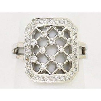 Luxinelle Lattice Style Diamond Ring - 14k White Gold 0.28 Carats  by Luxinelle®Jewelry