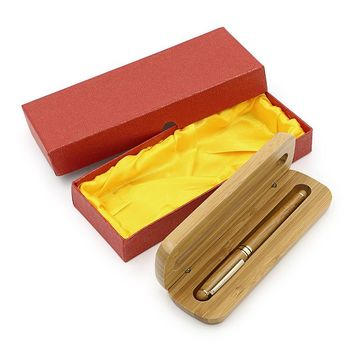 Medium Nib Fountain Pen Natural Bamboo Writing Pen with Converter and Case (Red Packed)