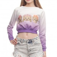 Monkey Ombre Crop Hoodies