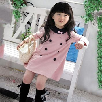 2017 spring dress girl new autumn long sleeve kids dress top quality cute cotton school style baby girl clothes for 2-7 years