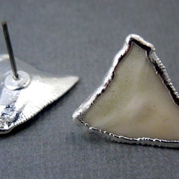 Shark Tooth Stud Earrings-- Tiny Shark Teeth dipped in a Layer of Electroplated Silver Studs- 1 PAIR  (S68B1-12)