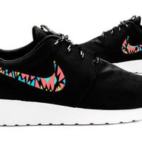 Womens Custom Nike Roshe Run sneakers, Infrared, Aqua, Teal, Lime, trendy design, Cute nikes, Customized swoosh