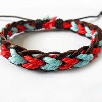 Bangle leather bracelet woven bracelet ropes bracelet women bracelet girls bracelet made of hemp rope and leather woven SH-1495