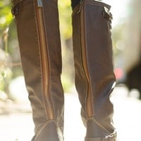Saddle Up Tall Brown Zipper Riding Boots - Light Brown from Breckelles at Lucky 21