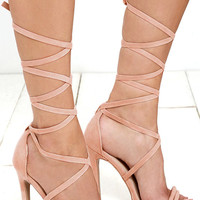 Ribbon Dance Melon Suede Lace-Up Heels