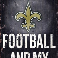 """New Orleans Saints Wood Sign - Football and Dog 6""""x12"""""""
