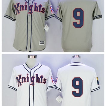 2017 New York Knights Baseball Jersey The Natural #9 Roy Hobbs Jersey White Grey Movie Stitched Mens Roy Hobbs Baseball Jersey Size S-XXXL
