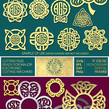 17 Celtic Knot Ditigal Monogram Frames - SVG, eps, DXF, PNG - Cut Files for Silhouette, Cricuit, other electronic cutting machines cv-123