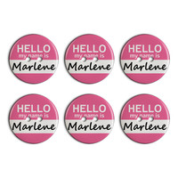 Marlene Hello My Name Is Plastic Resin Button Set of 6