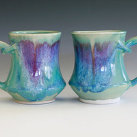 Pair of Porcelain Coffee Mugs handmade ceramic cups by ocpottery