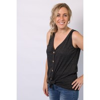 Button Down Front Tie Tank - Charcoal