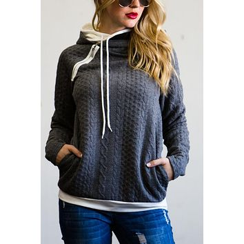 Double Hood Hoodie Cable Knit Sweater - Charcoal