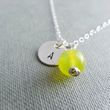 Silver Initial necklace, Jade necklace, Sterling Silver disc, gift for girlfriend, anniversary gift, birthday present, bridesmaid necklace