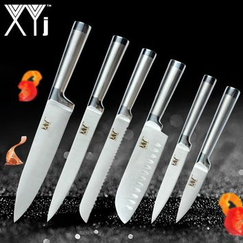 XYj New Year Kitchen Knives Paring Utility Santoku Chef Slicing Bread Stainless Steel Knives Comfortable Handle Kitchen Tools