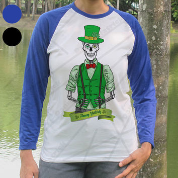 St. Patricks Danny Hatrick Baseball Shirt Skeleton Skull Paddies day Long sleeve Paddy T shirt Lost souls