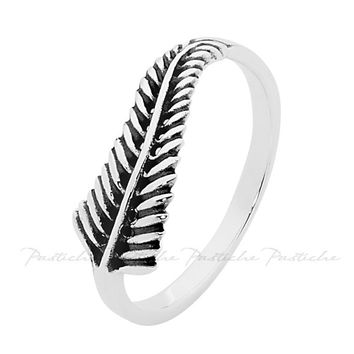 Pastiche New Zealand Fern Ring In Oxidised Silver