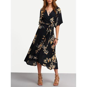 Multicolor V-Neckline Floral Prints Wrap Dress