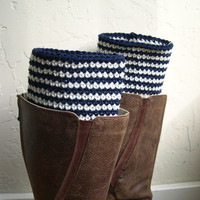 Striped Boot cuffs - Cream Navy Blue Crochet Boot Toppers - Beige Marine Blue leg warmers - Marinière Striped Toppers - Fashion 2013