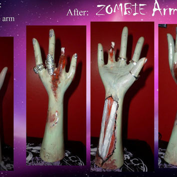 ZOMBIE Arm/Hand Jewellery Stand - a HORRORfied horror OOAK arm reborn