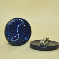 Scorpio Pinback Button, GLOW in the DARK, Constellations, Zodiac, Horoscope, Astrology, Astronomy, Oct 23 - Nov 21, The Scales, The Stars