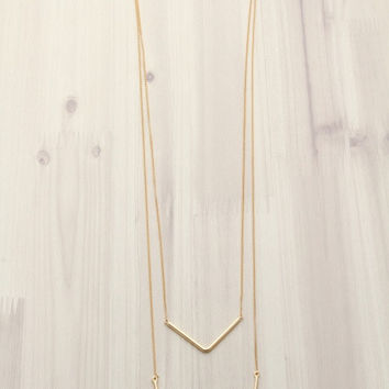 Layered Chain V-Shaped Gold Necklace