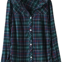 Green Plaid Side Ruched Lace Long Sleeve Blouse