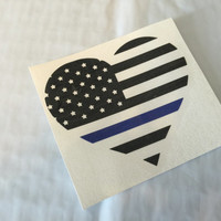 Back the Blue Heart Thin Blue Line Vinyl Decal | Yeti Heart Cop Decal | Back the Cop Decal | All Lives Matter | Blue Lives Matter | 381