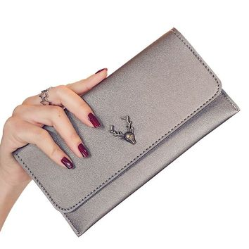 Clutch Wallets Lady Purses PU Leather Long Girls Deer Wallet Cards ID Holder Moneybags Clips Female Envelope Bags Women Wallet