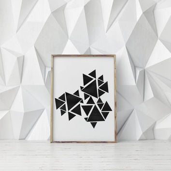 GEOMETRIC ABSTRACT TRIANGLES,Watercolor Triangles,Abstract Design,Digital Art,Triangle Design,Wall Art,Inspiration,Black And White,Home Art