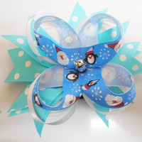 Blue Christmas Boutique Stacked Pinwheel Hair Bow scrunchie hair tie