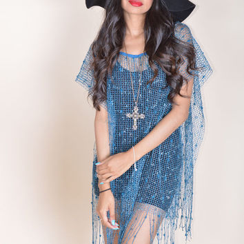 Mesh Cover up Fringe Poncho