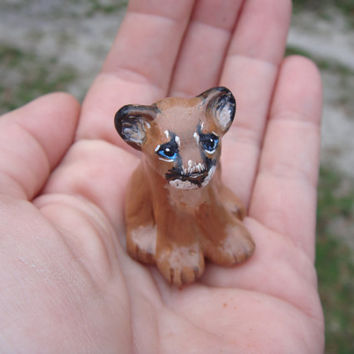 Hand sculpted clay  miniature mountain lion -  puma -  panther - cougar cub