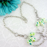 Shades of green & white chain necklace, statement necklace
