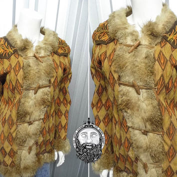 Vintage 60s 70s Afghan Coat Sheepskin Coat Hippy Jacket Embroidered Fur Trim Sheep Skin Duffle Duffel Shearling Coat Hippie Suede 1960s