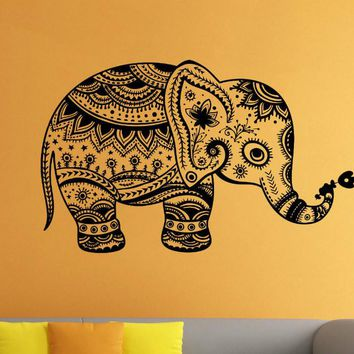 Removable Vinyl Sticker Indian Elephant Floral Patterns Tribal Yoga Om Art Decals Om Flowers Wall Sticker Home decor D233
