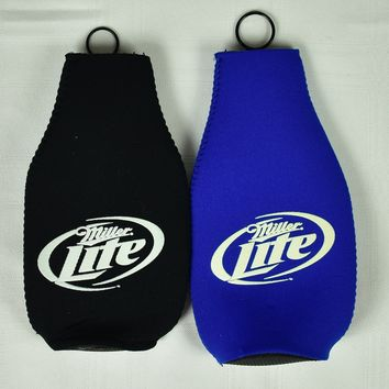 Miller Lite Beer Bottle Koozies - Set of 2 - Blue or Black - You Choose