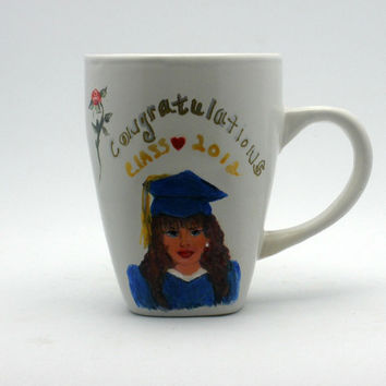 Cute Hand painted Girl in Blue Cap n Gown by PaintedDesignsByLona