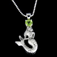 GENUINE PERIDOT SOLID 925 STERLING SILVER HAWAIIAN MERMAID PENDANT RHODIUM 15MM